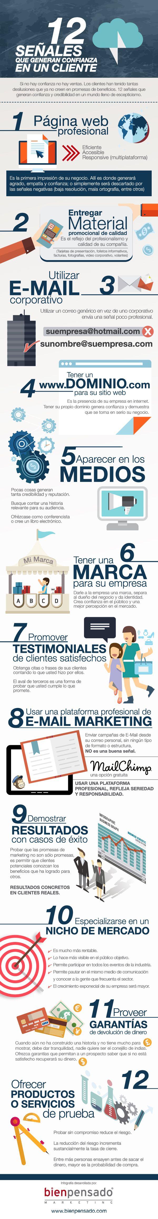 Hola: Una infografía con 12 señales que generan confianza en un cliente. Vía Un saludo