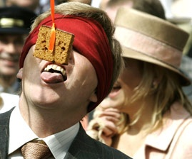 Old Dutch game Koekhappen   (prins Willem Alexander)...I remember playing this at one of my birthdat parties!!!