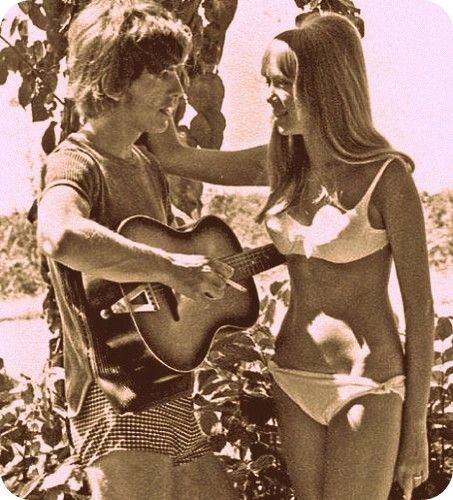 George Harrison with his first wife & muse, Patti Boyd.