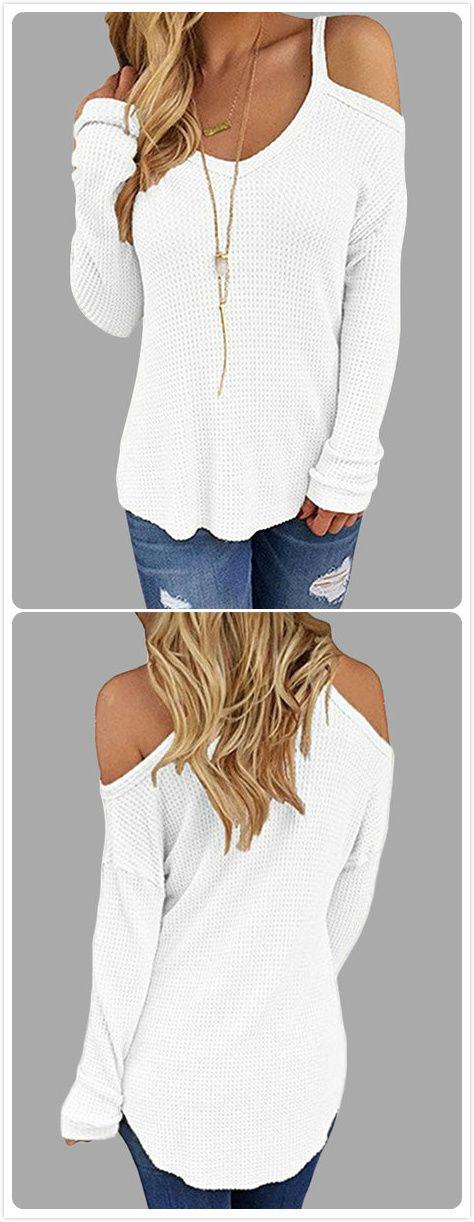 White Beige Thin Shoulder Cold Shoulder Long Sleeve T-shirt