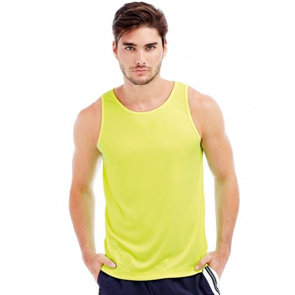WORKOUT IN STYLE Stedman Mens Poly Sports Vest  Active Sports Vest ST8010 • Body Fit T-Shirt • Smooth & Sleek Fabric • Side Seams • Neck Drop & Armholes With Binding • Small, Reflecting Active-Dry° Logo On The Back • Small Size Label In The Collar • Care Label In The Side Seam  Price: £3.80 Read here: http://goo.gl/SFFNSL