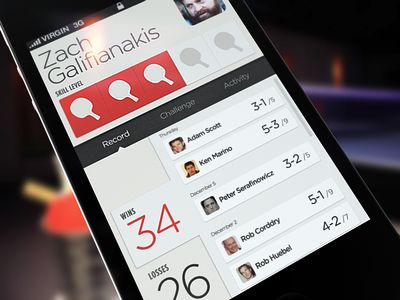 Interesting concept Social Ping Pong. Interface is clean and nice use of typography.