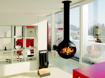 Contemporary central fireplace (wood-burning open hearth)