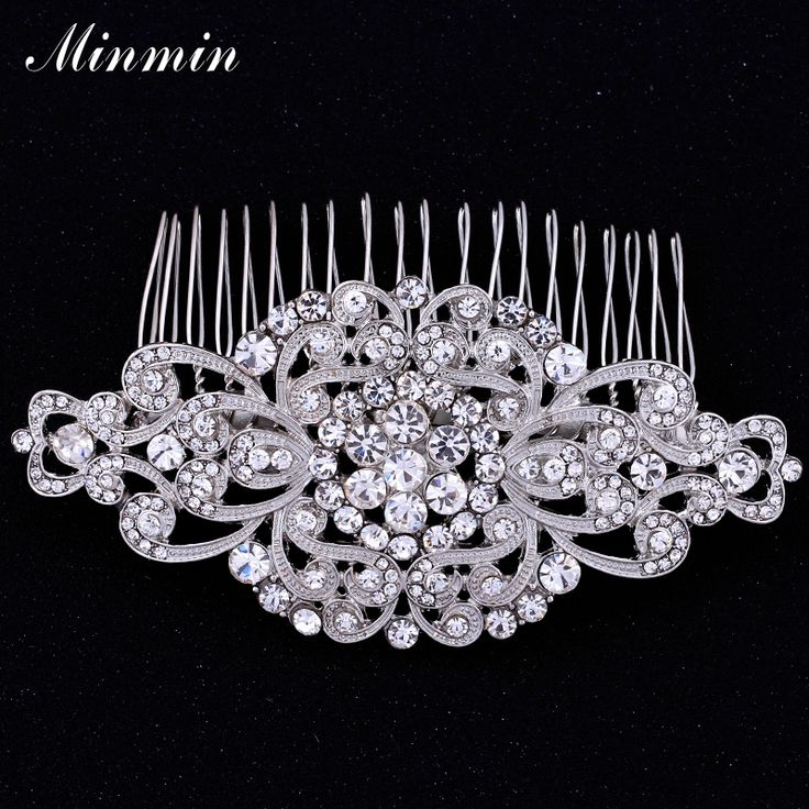 Minmin Floral Crystal Hair Combs Wedding Hair Jewelry for Women Bridal Hairpins Hair Accessories Tiara for Brides FS069