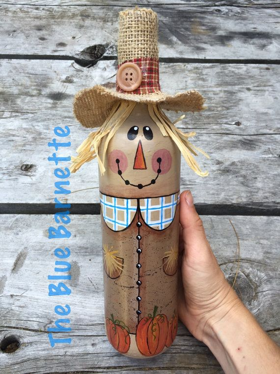 Scarecrow Wine Bottle Fall decor Handpainted by TheBlueBarnette