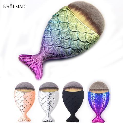 1pc Mermaid Foundation Brush Fish Scale Makeup Brushes Professional Foundation Powder Blush Brush Contour Fishtail Cosmetic Brus