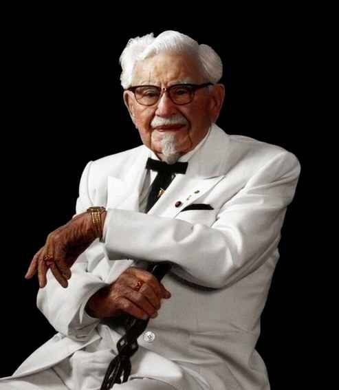 Harland 'Colonel' Sanders, inventor of the Kentucky Fried Chicken.
