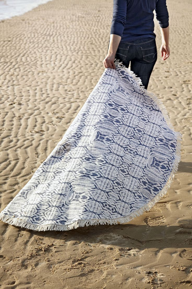Fly away with the magic carpet IKAT in denim blue!