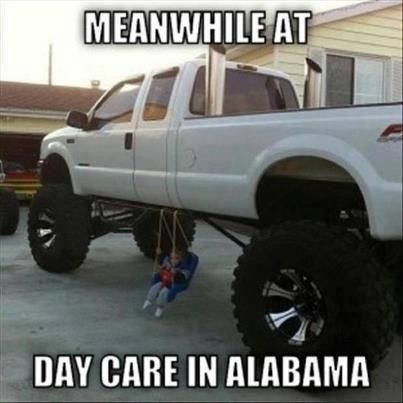 With a little redneck ingenuity, jacked-up trucks can be good family vehicles