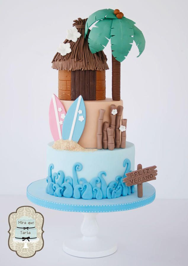 Summer cake - Three Tiers = Bottom is blue for water and waves; Middle is tan for sand with surfboards; Top is a brown hut with a Palm Tree. Cute!