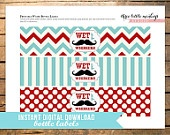 INSTANT DOWNLOAD Little Man Mustache Food Labels Place Cards. $2.50, via Etsy.