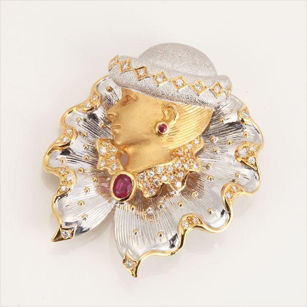 【中古】K18 ルビー 女性 ブローチ/新品同様・極美品・美品の中古ブランド時計を格安で提供いたします。