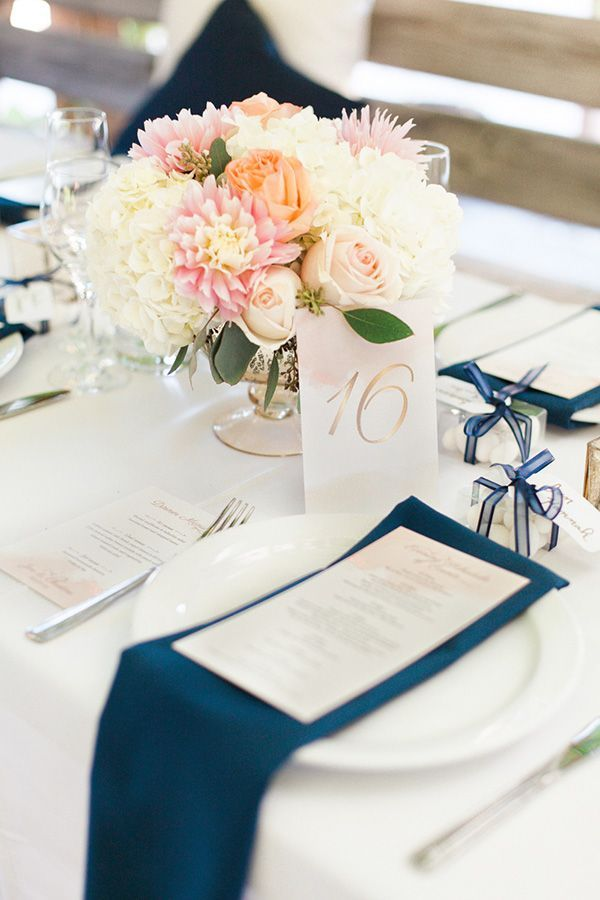Navy, Blush, and Gold Place Setting   Royce Sihlis Photography and Created Lovely Events   Sparkling Blush and Champagne Wedding in an Apple Orchard