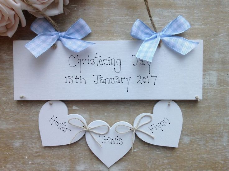 Handmade Wooden Personalised Christening Day Gift.Can Also Be Made In A Pink And White Theme..£8.99