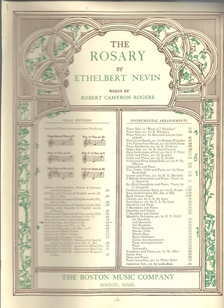 Details about The Rosary Ethelbert Nevin Sheet Music 1913 Vintage ...