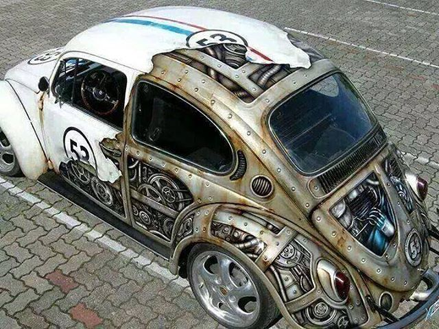 """Steampunk paint job on a VW Beetle by #AndrasBathory.  www.UpFade.com""                                                                                                                                                                                 Mais"