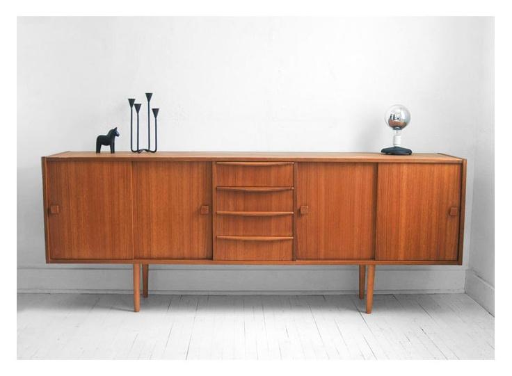 Mid Century Swedish Teak Credenza Modern Dresser Retro