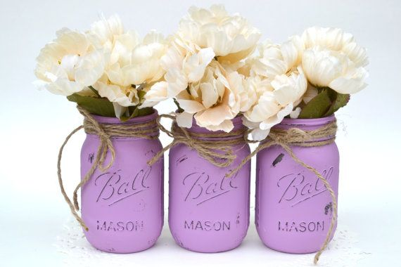 Painted Mason Jars Purple Mason Jar Painted by PaintedPaintbrush