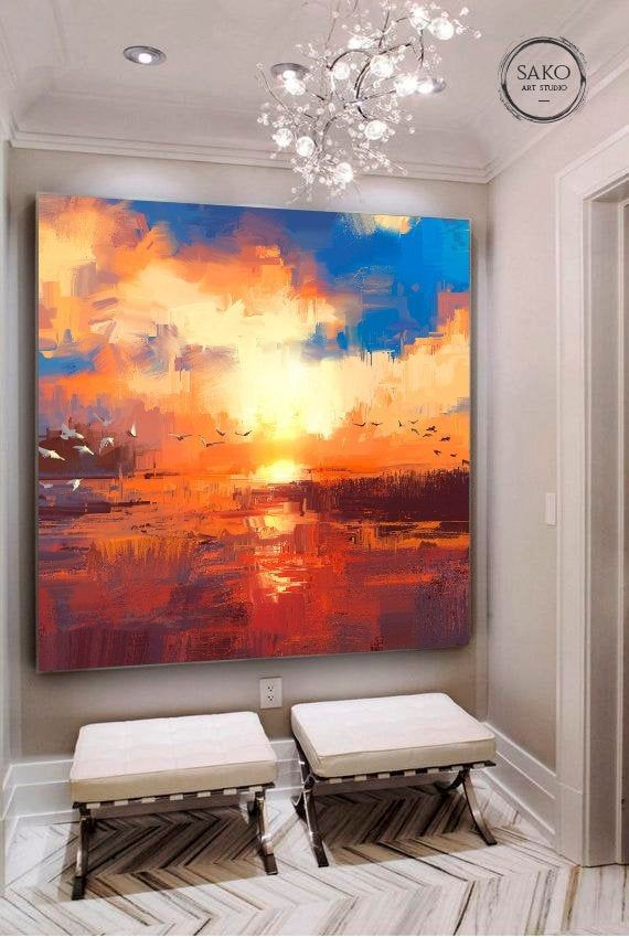 Sunset Painting Extra Large Wall Art Abstract Painting