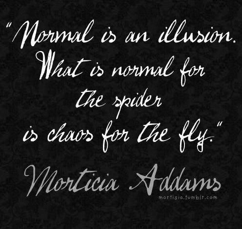 """""""Normal is an illusion. What is normal for the spider is chaos for the fly"""" – Morticia Addams.: Sayings, Inspiration, Quotes, Morticia Addams, Truth, Normal, Thought, Illusions"""