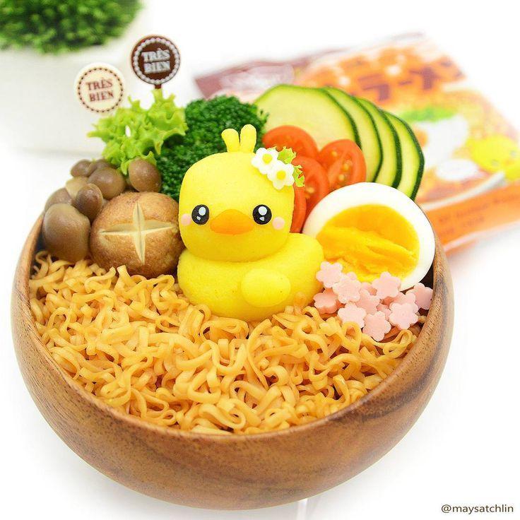 cute potato duck on noodles bento box  resep