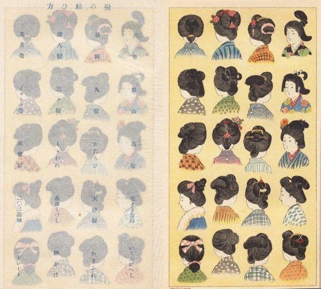 日本髪の結い方(明治時代に出版された「明治少女節用」より)