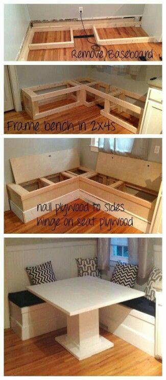 leuk om een opbergbox en een tafeltje van te maken in de woonkamer - Booth Kitchen Tables