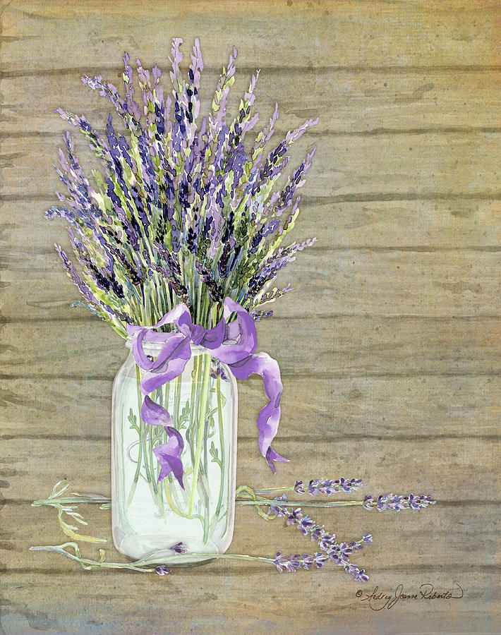 French Lavender Rustic Country Mason Jar Bouquet On Wooden Fence Painting