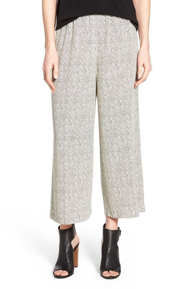 NWT Petite Eileen Fisher ECRU Broken Chevron Tencel Wide Leg Crop Pants PP #EILEENFISHER #WideLegCropPants