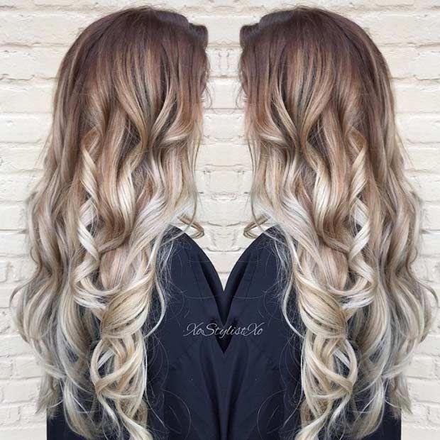 Ashy Blonde Balayage on Long Hair