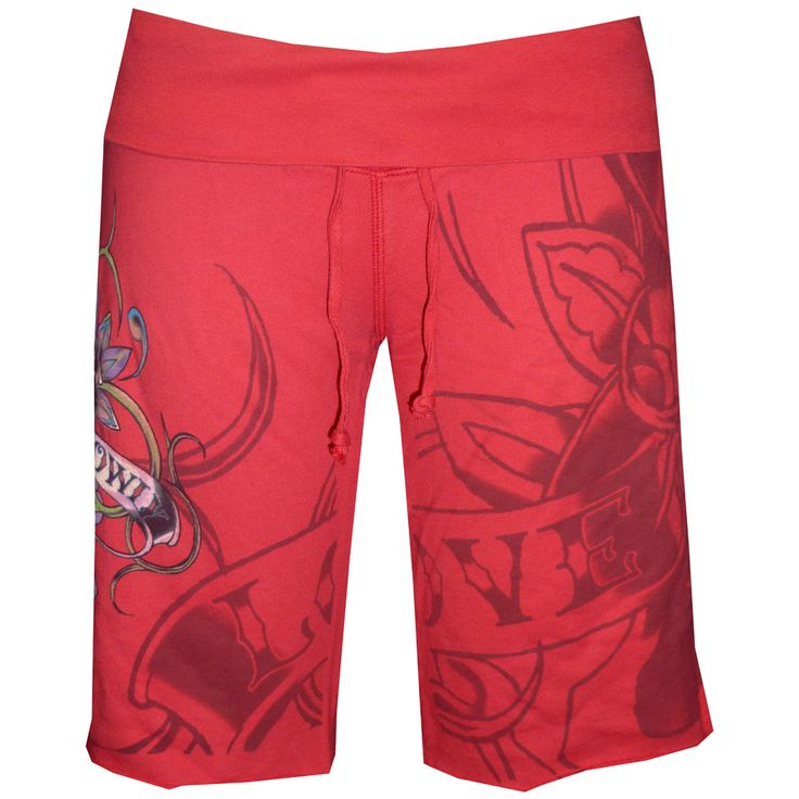 Ed Hardy Womens Terry Gym Drawstring Shorts- Red