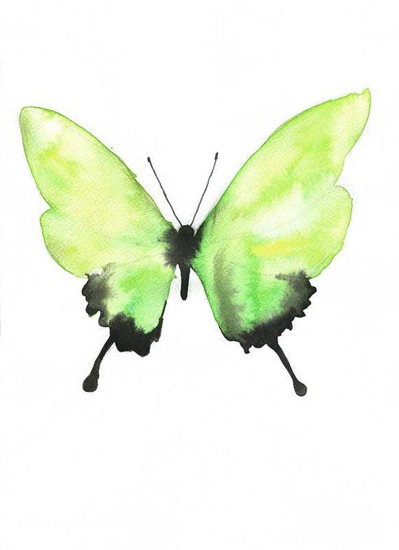 Aquarelle cette figure repr sente une papillon elle l 39 aire ais venteux libre d sinvolte for Peinture murale vert anis