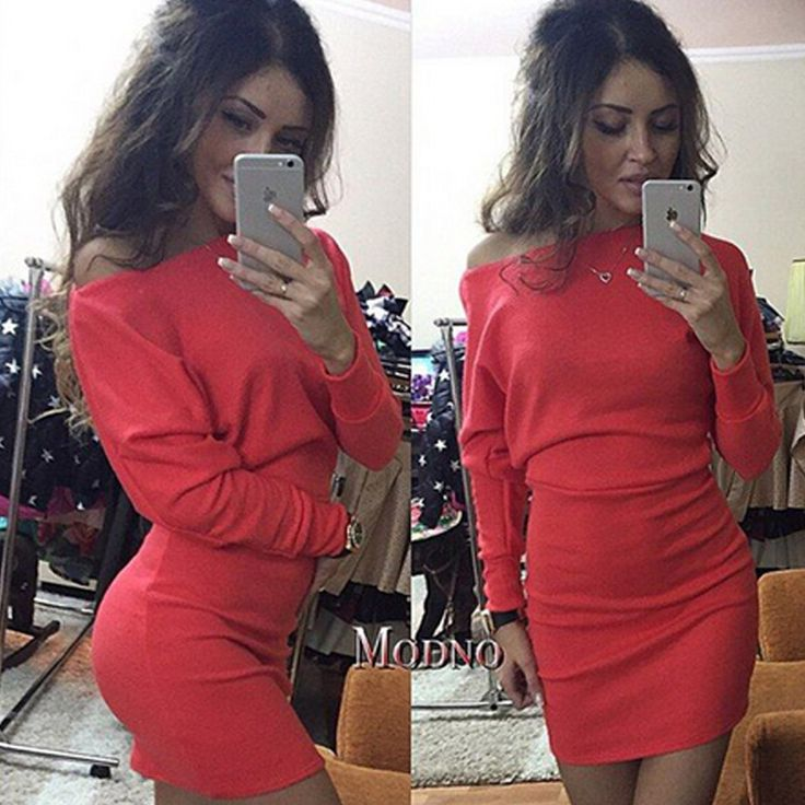 Hot Sale Women Sexy Dress For Autumn Off Shoulder Beat Sleeve Hip Dress 2016 New Sweet Lady Solid Style With High Quality