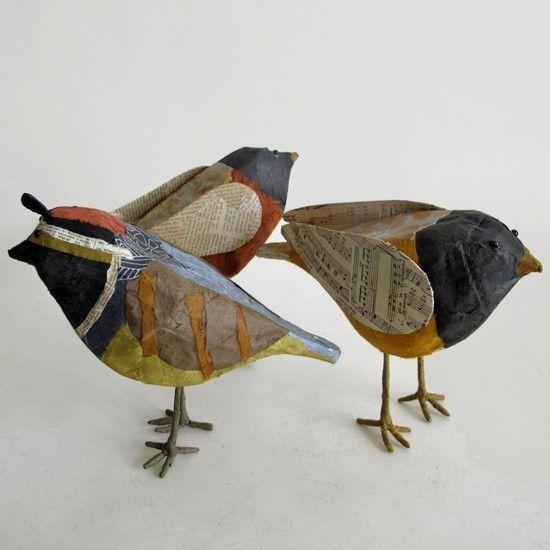 Paper Mache Birds by Suzette Merkley Hahn