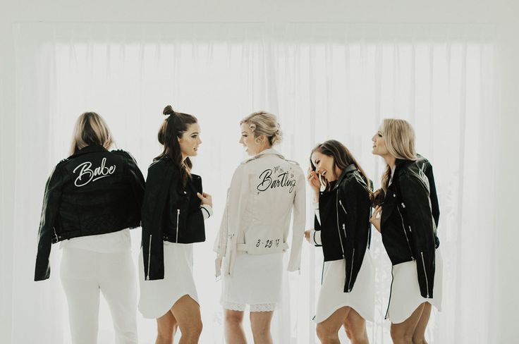custom hand painted calligraphy leather jacket for the bridesmaids + wedding