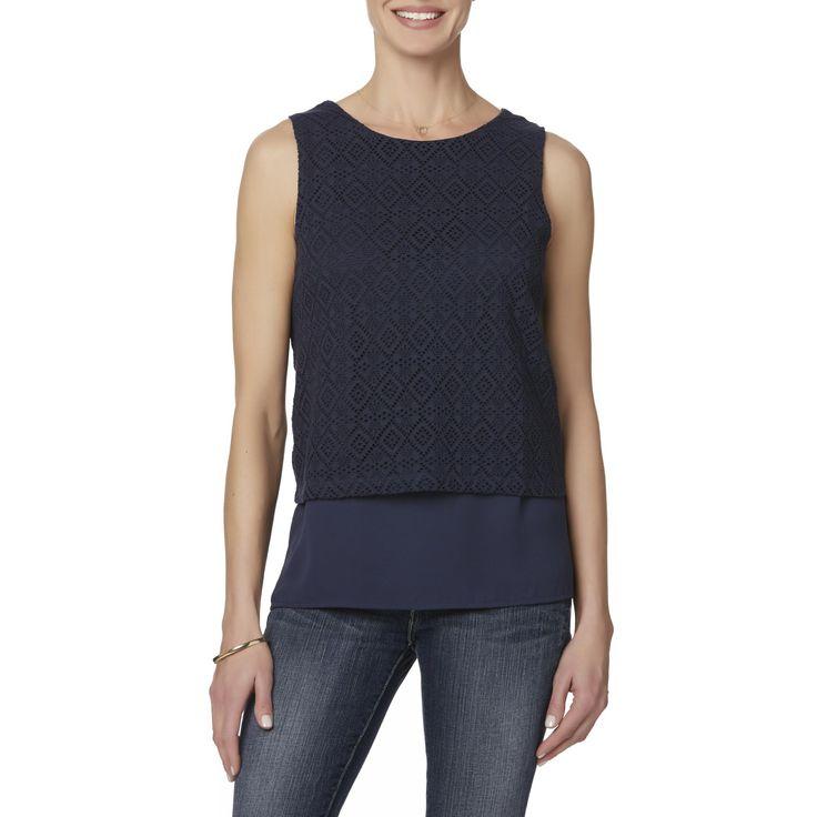 Jaclyn Smith Women's Layered-Look Tank Top, Size: Medium, Navy Blazer
