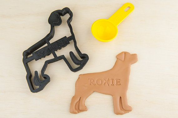 "Personalized Rottweiler Dog Cookie Cutter | Does your dog deserve their own line of cookies, made just for them?  We are introducing our new line of ""personalized"" Rottweiler cookie cutters with your own dogs name engraved in the cutter. You can make your dog feel special and loved with their own treats made by you from scratch.  This listing is for ""1"" Rottweiler personalized cookie cutter, that is about 4.75 inches including the tail. This will make a cookie about 4.5 inch."