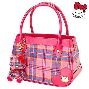 2009 Sanrio Hello Kitty Tartan Lochcarron Hand Bag*Japan