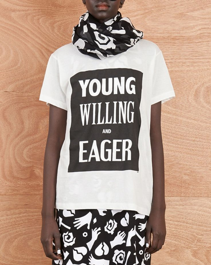 Long Boyfriend Tee with YOUNG, WILLING and EAGER Print - Karen Walker - Designers