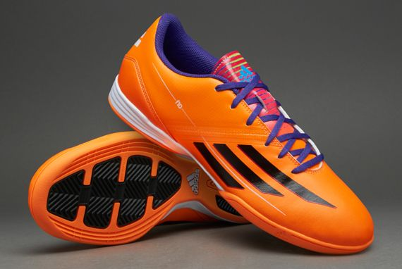 adidas Football Boots - adidas F10 Indoor - Soccer Cleats - Solar Zest-Black-Blast Purple