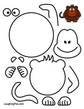 Coloring & Cutouts Set #1  Printables for your students to color a set of 5 animals, cut them out, and glue them back together.   This set contains a Monkey, Chicken, Elephant, Horse, and a Sea Turtle.