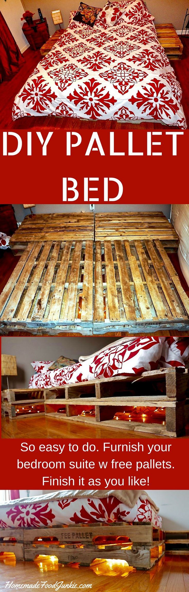 DIY Pallet Bed with tables. No construction skills necessary!