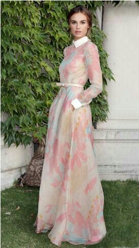 Pastel floral long-sleeve gown