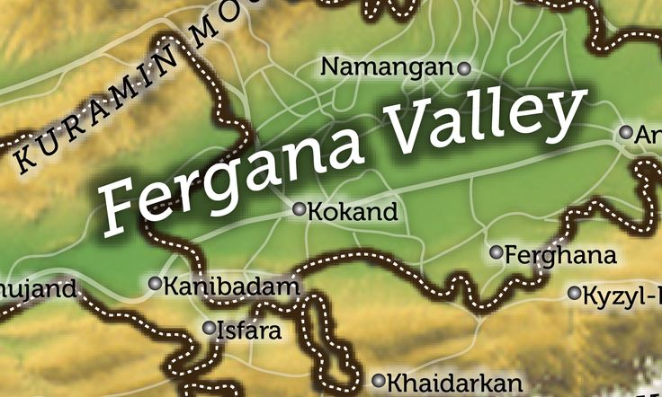 Single map of the Fergana Valley region of Central Asia created for a private military analyst based in Sydney, Australia to be used for inclusion with written works and presentations.