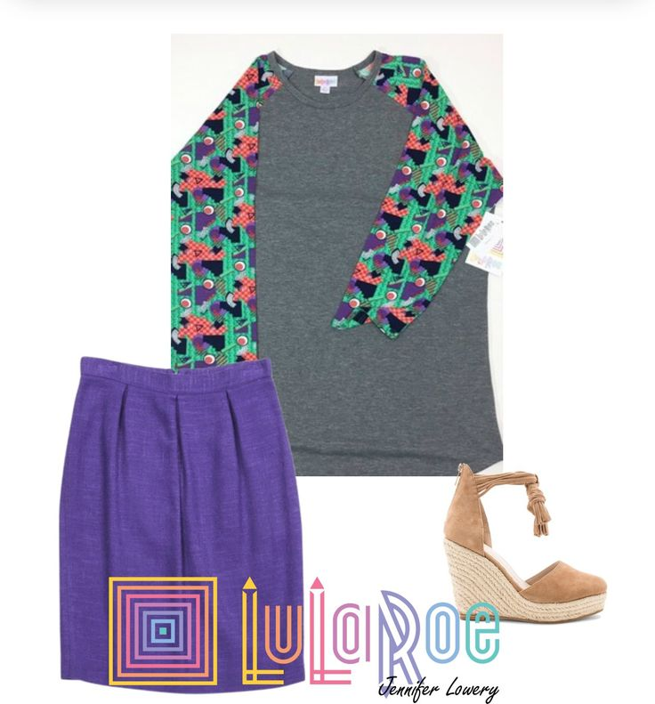 The Large LuLaRoe Randy in this collage is paired with a super flirty skirt and wedge espadrilles for a fun spring outfit!  The Randy is made from 96% Polyester and 4% spandex.  The sleeves boast colors of green, purple, white, black, and salmon in a fun, abstract pattern!