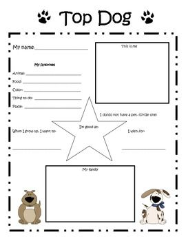 "Enlarge this poster to celebrate each student as the ""Top Dog"" student of the week. You can keep original paper size for memory books or enlarge to create a poster for display in your classroom. Children can take home and complete with their families to support the home/school connection and establish community within your classroom."