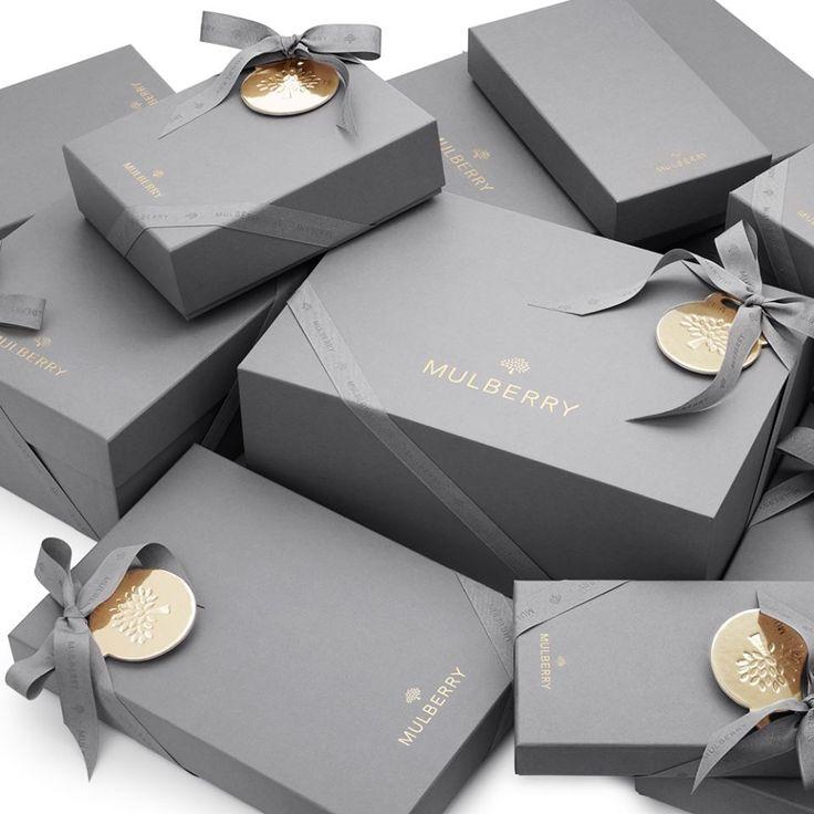 Mulberry packaging branding logo pinterest grey for Luxury gift for women