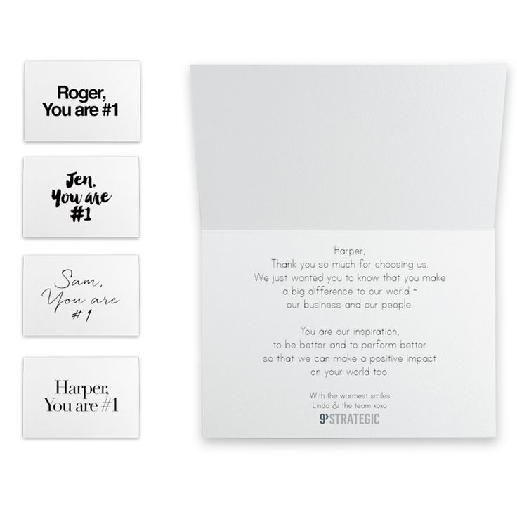 The personalised card that comes with the journal.  Select your style and add your custom message.