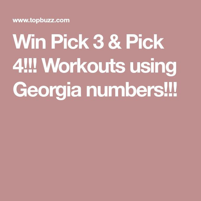 Win Pick 3 & Pick 4!!! Workouts using numbers