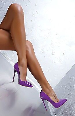 NEW 2016 Made in Italy Classic Pigalle Heels b44 Pumps Shoes Leather Purple 35 w…
